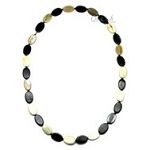 V11893 OVAL SHAPED MULTICOLORED  PIECES  HORN NECKLACE