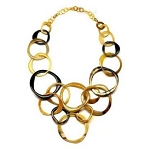 Q11811 WATER BUFFALO HORN MATTED VARIED SIZED CIRCLES NECKLACE
