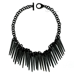 Q11571 WATER BUFFALO UNPOLISHED BLACK MATTE HORN NECKLACE