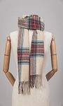 Irish Lambs Wool Scarf- Classic Stone Tartan