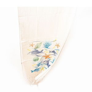 SEA ANIMALS COTTON SCARF NATURAL
