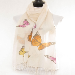 BUTTERFLY COTTON SCARF NATURAL