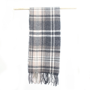 Irish Lambs Wool Scarf- GREY TARTAN