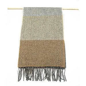 Irish Lambs Wool Scarf- Classic Grey Stripe