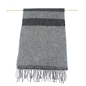 Irish Lambs Wool Scarf- Two Tone Grey Black Stripe