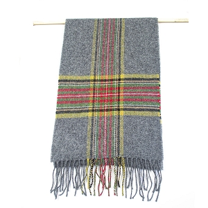 Irish Lambs Wool Scarf- Grey Stripe