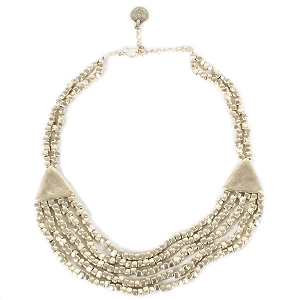 SLVR1013 TRIPLE BEADED STRAND SILVER PLATE NECKLACE