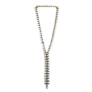 SLVR1753 LONG Y WITH SMALL OVALS NECKLACE