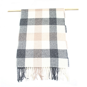 Irish Lambs Wool Scarf- Neutral Check