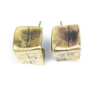 BNZ4066 BRONZE LINE OF BOXES EARRING