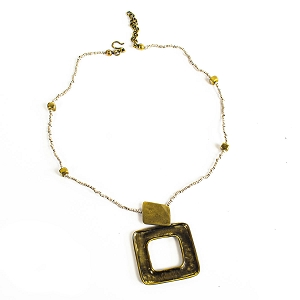 BNZ43-31 BRONZE HOLLOW SQUARE PENDANT NECKLACE