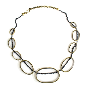 BNZ43-44 BRONZE STRING OF OVALS CHAIN NECKLACE