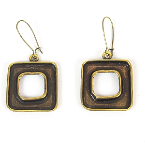 BNZ43-64 SIMPLE HOLLOW SQUARE EARRING