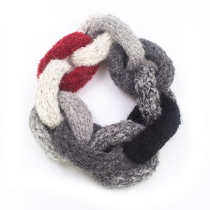 Hand Knit Scarf with Red Accent
