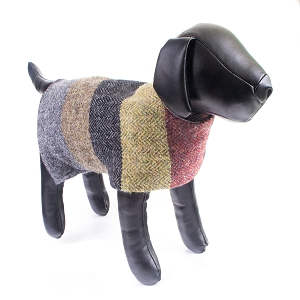 Irish Lambs Wool Dog Coat- fall stripes