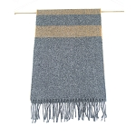 Irish Lambs Wool Scarf- Grey Brown Stripe
