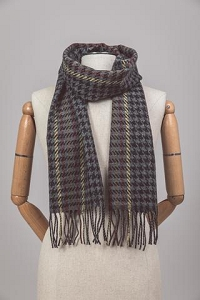 Irish Lambs Wool Scarf- Grey Hounds Tooth