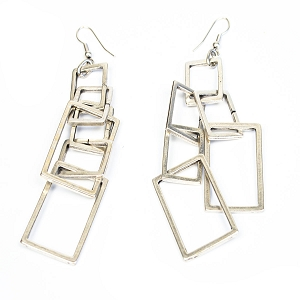 TE4617 CHAIN OF SMALL BOXES EARRINGS