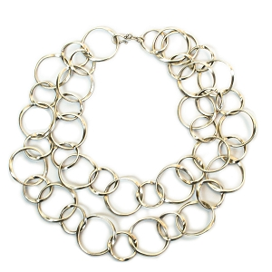 TN1622 TWO ROWS OF CIRCLE NECKLACE