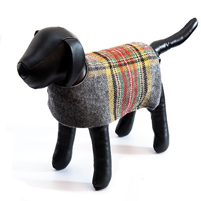 Irish Lambs Wool Dog Coat- Grey Stripe