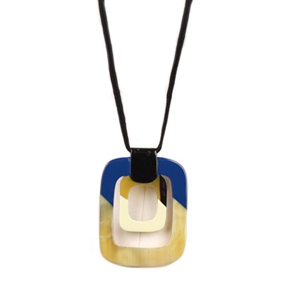 Q13522 WATER BUFFALO HORN LOVE OF SQUARES PENDANT