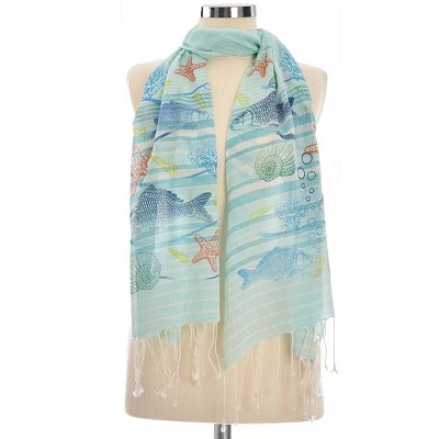 SEA ANIMALS COTTON SCARF STRIPED